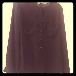 Women's Black Long Sleeve Polyester Button Down